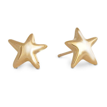 Solid recycled gold star stud earrings made in UK Scarlett Jewellery designer