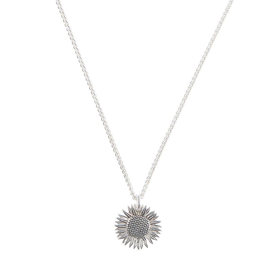 solid 925 sterling silver sunflower necklace pendant scarlett jewellery