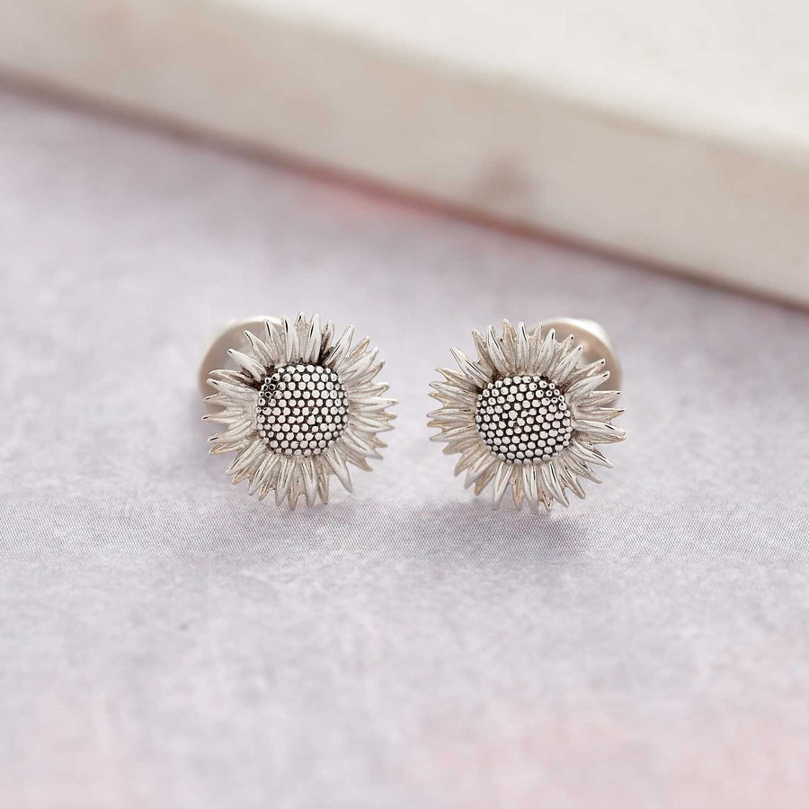 solid sterling silver sunflower stud earrings as seen at RhS Chelsea Flower Show Scarlett Jewellery