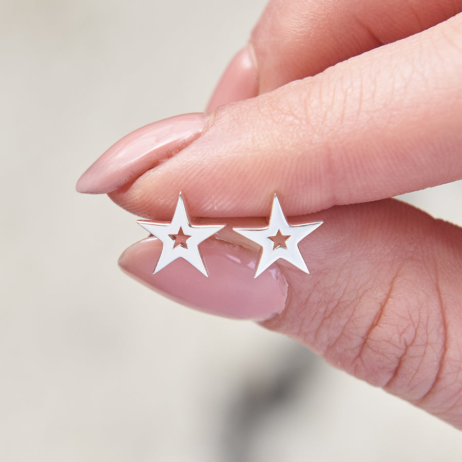 Stardust Outline Silver Star Stud Earrings Designer Studs Scarlett Jewellery