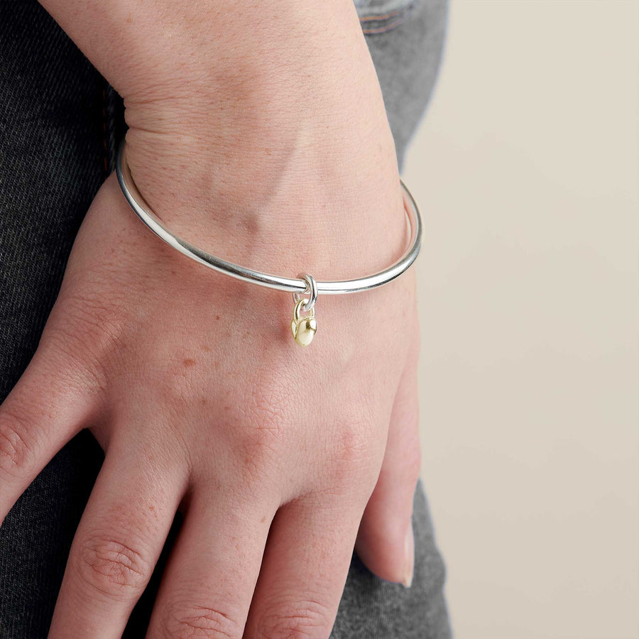 Sweetheart Silver & Gold Heart Charm Bangle Designer Silver Jewellery Scarlett Jewellery