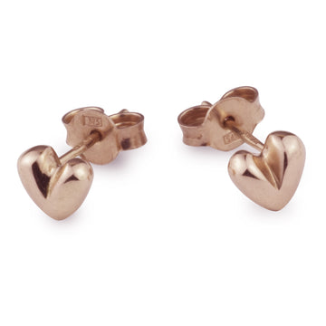 Sweetheart Solid Rose Gold Stud Earrings Designer UK Recyled Rose Gold Studs Scarlett Jewellery