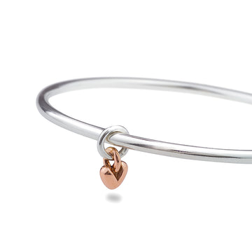 Sweetheart Silver & Rose Gold Heart Charm Bangle