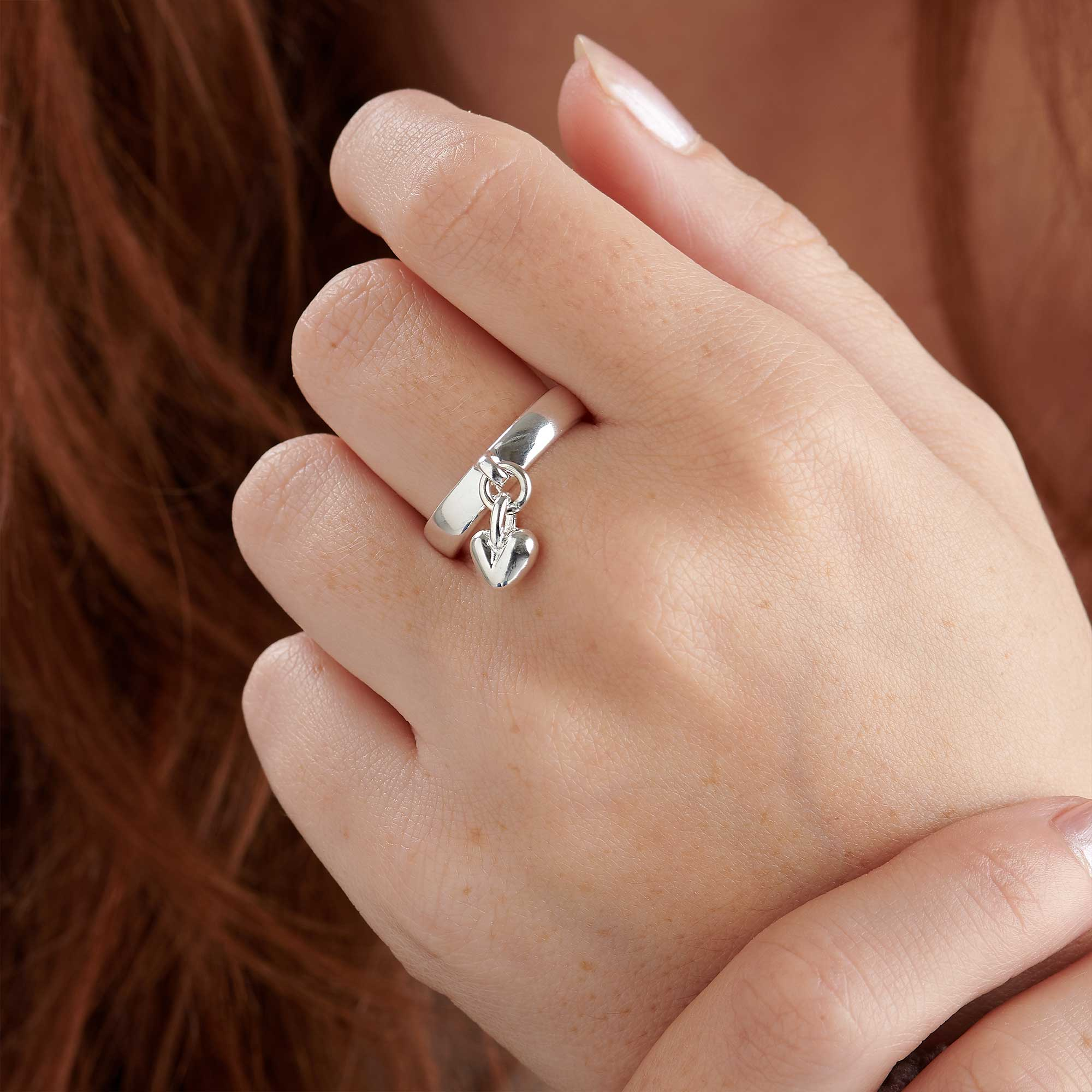solid silver heart charm ring designer womens scarlett jewellery UK