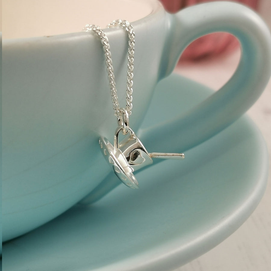tea cup and saucer with silver spoon pendant scarlett jewellery vintage style necklace