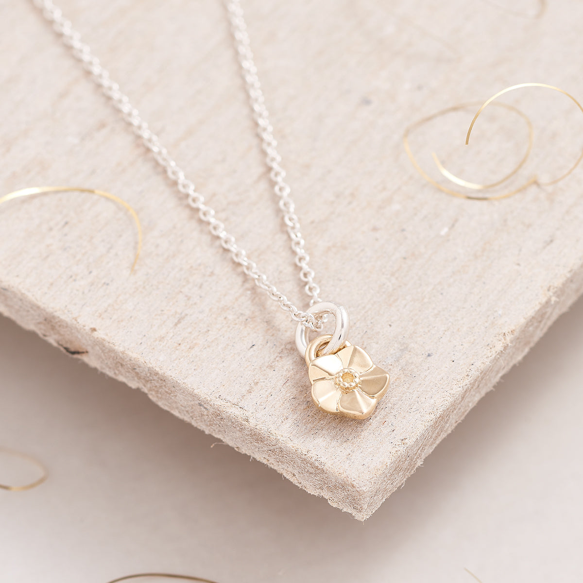Tiny Forget-Me-Not Gold Charm Necklace Memorial Gift Scarlett Jewellery