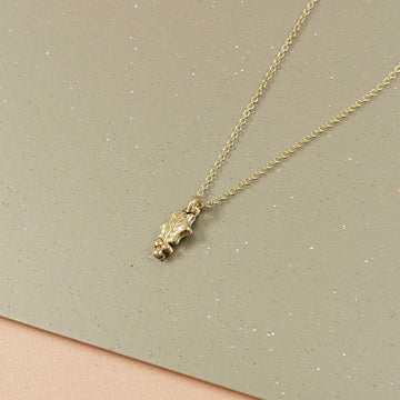Tiny Gold Holly Leaf Necklace