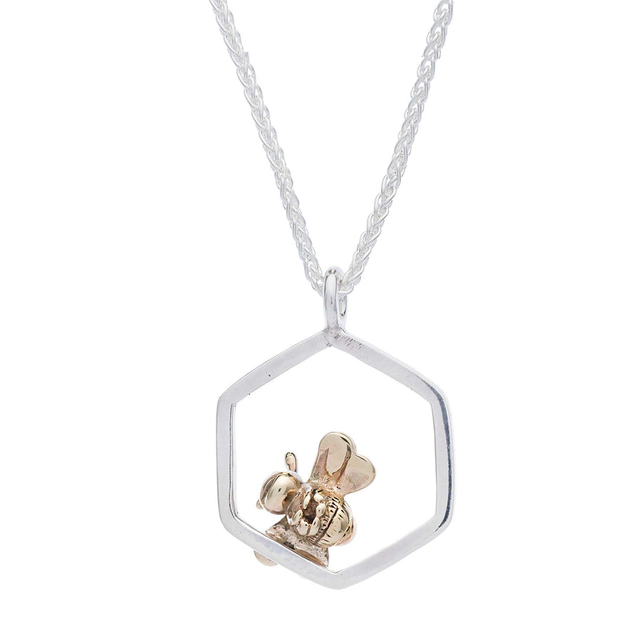 Tiny rested honeybee silver and gold necklace scarlett jewellery