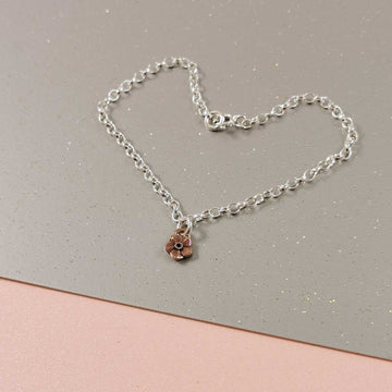 Rose Gold Forget-Me-Not Silver Belcher Chain Bracelet