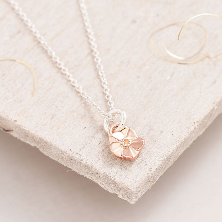 Tiny Forget-Me-Not rose Gold Charm Necklace Memorial Gift Scarlett Jewellery