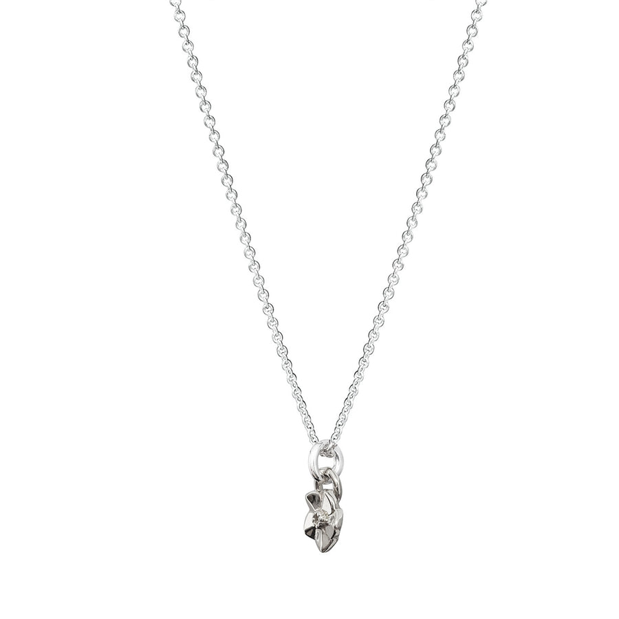 tiny silver forget me not flower necklace for flower girls and teens scarlett jewellery brighton