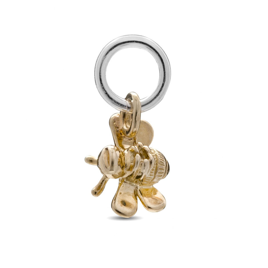 Tiny solid gold bumble bee charm scarlett jewellery