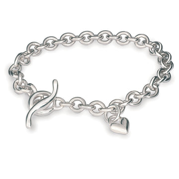 Classic silver heart charm bracelet with T-bar Scarlett Jewellery