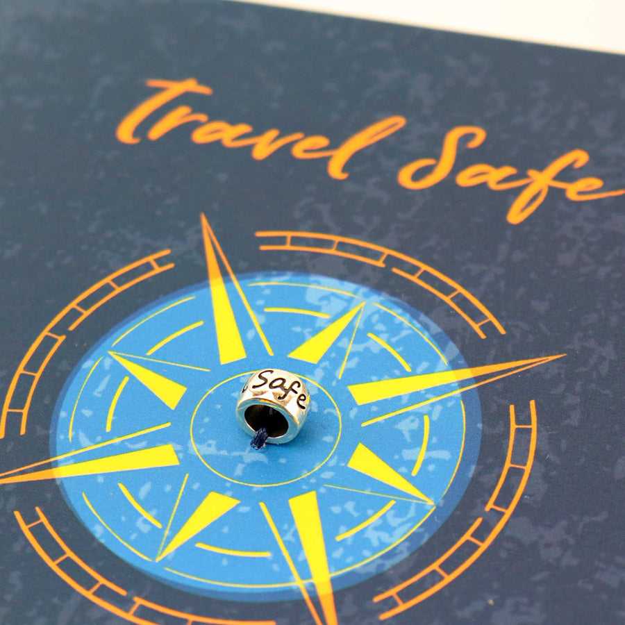 Travel Safe charm bead comes tied to an all-in-one gift card for your world travellers.