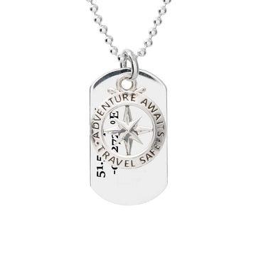 travel safe dog tag mens necklace with coordinates latitude longitude engraved pendant