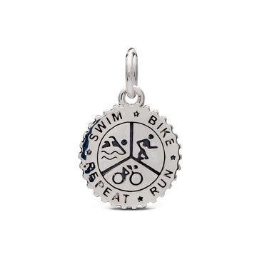 triathlon swim bike run repeat solid silver charm free engraving fits pandora