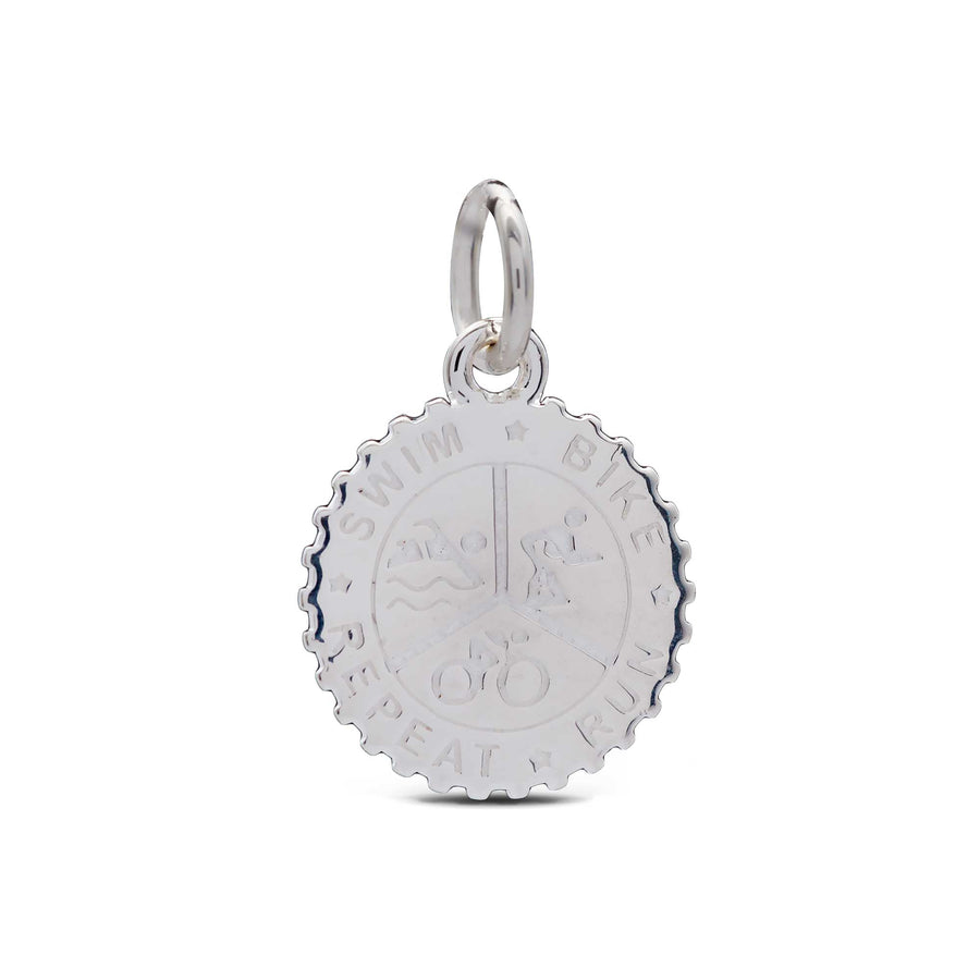 Triahtlon Swim Bike Run Personalised Silver Charm