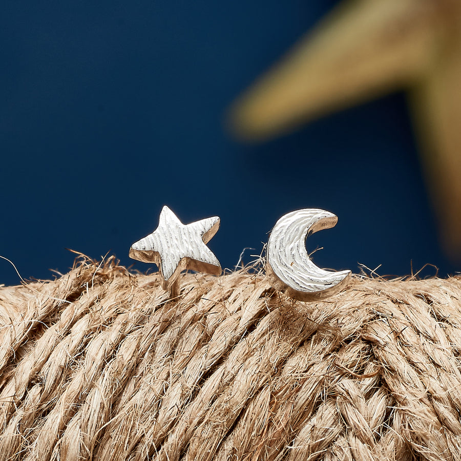 Solid 925 sterling silver mismatched moon and star stud earrings designer Scarlett Jewellery