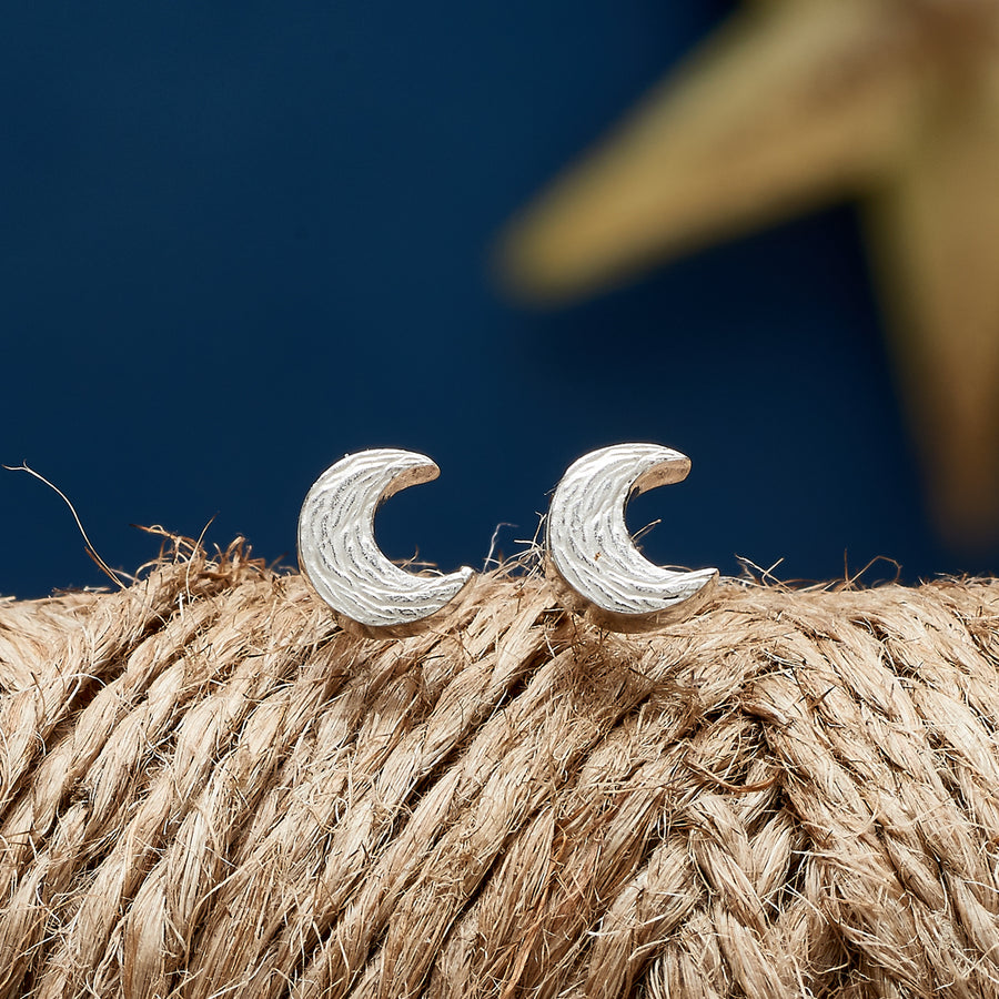 Silver textured moon stud earrings handmade Brighton Scarlett Jewellery