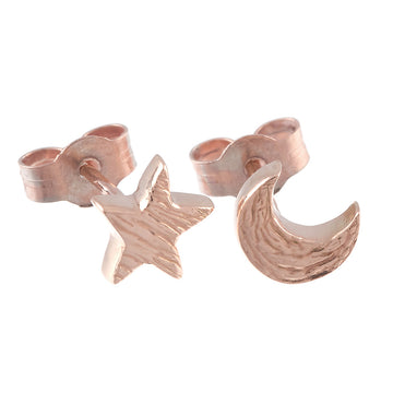 Twilight Moon & Star Solid Rose Gold Stud Earrings