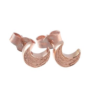 Solid rose gold textured moon stud earrings handmade Brighton Scarlett Jewellery