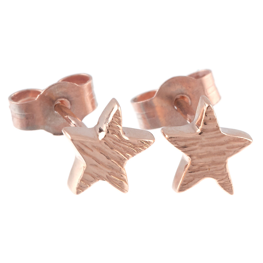 Solid rose gold textured star stud earrings handmade Brighton Scarlett Jewellery