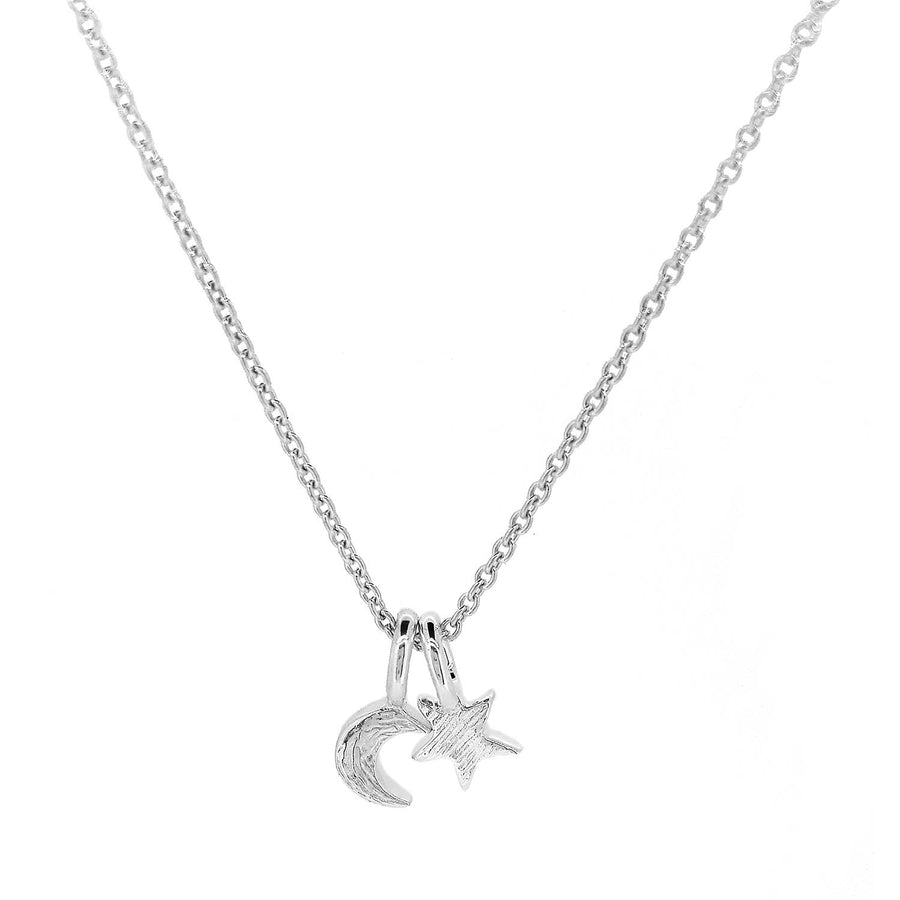 Small silver star and moon pendant for teens young girls handmade designer Scarlett Jewellery