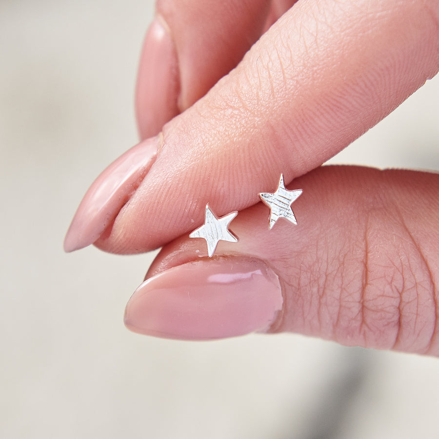 Silver textured star stud earrings handmade Brighton Scarlett Jewellery