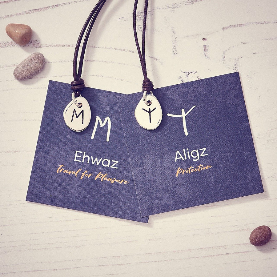 Travel Rune Ehwaz Aligz- Silver & Leather pendant for men & women - ideal travel gift