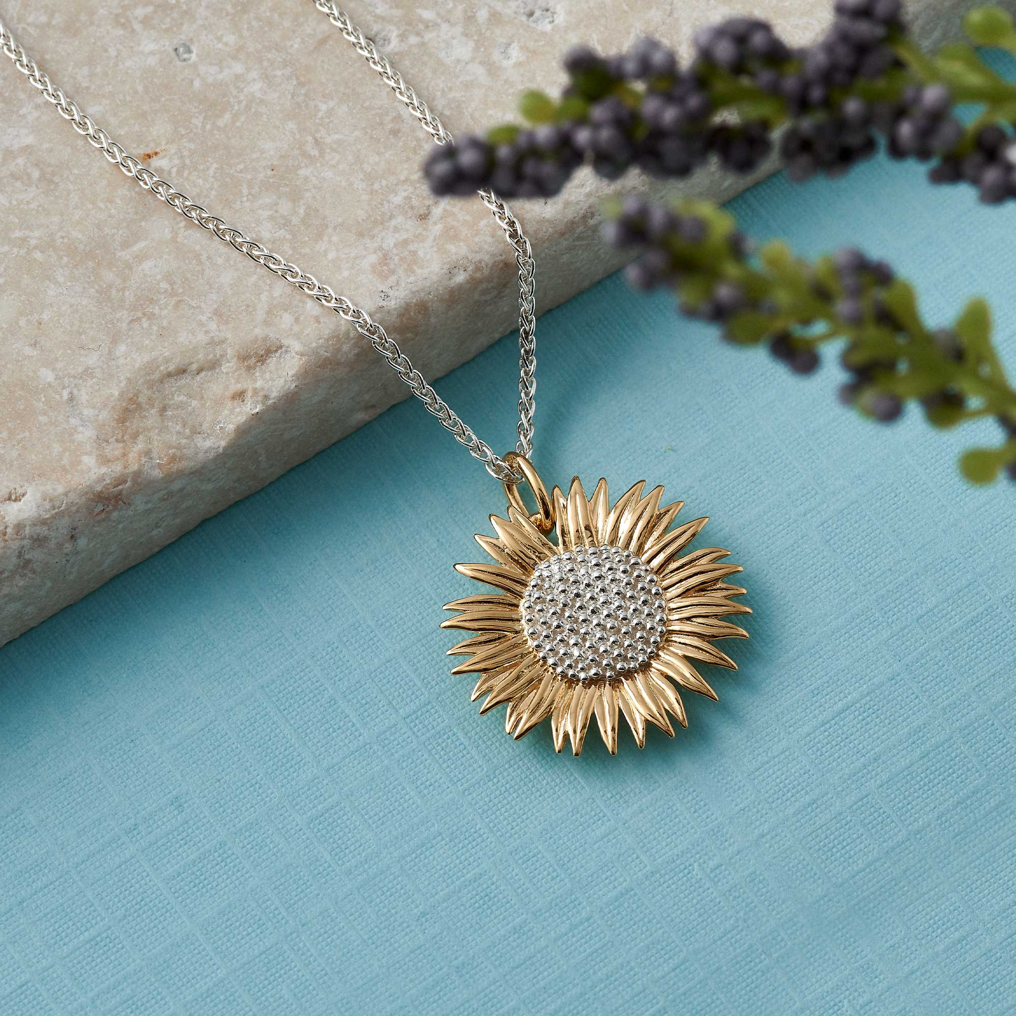 gold vermeil 18k sunflower pendant necklace jewellery made in uk