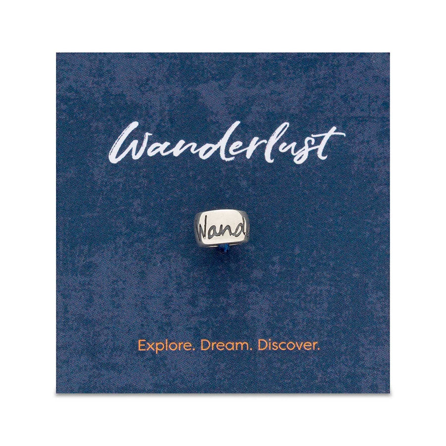Wanderlust gift card with silver charm fits pandora going away travelling gift