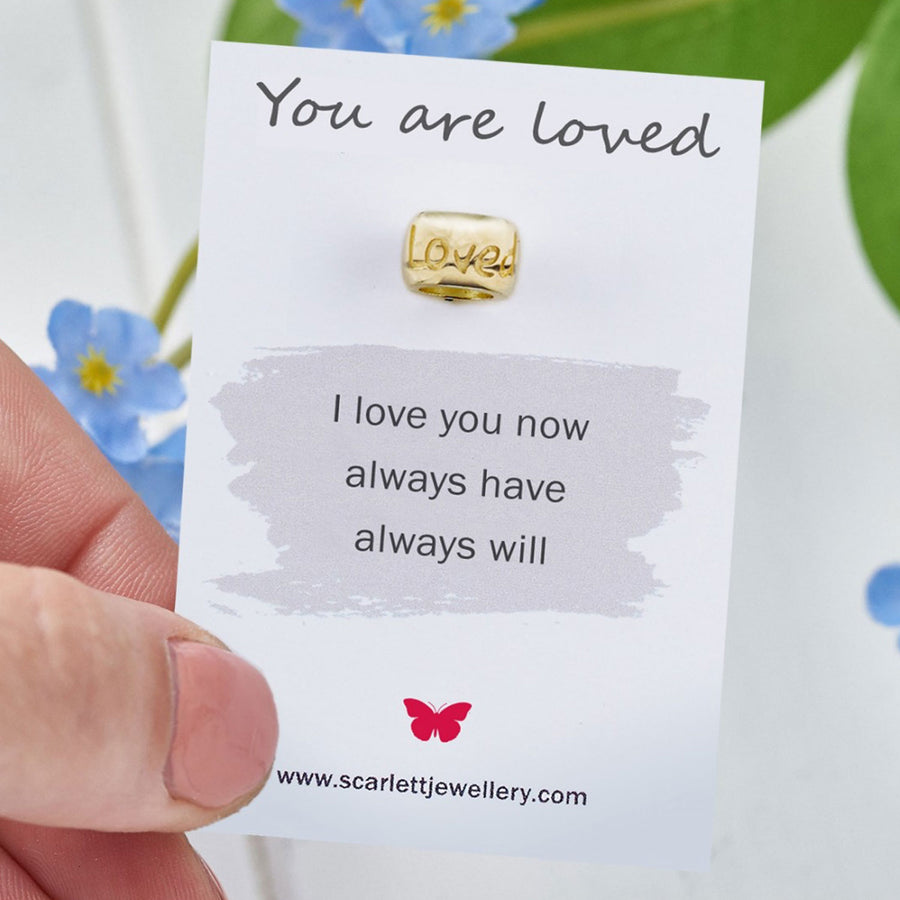You are loved anniversary eco friendly recycled gold charm bead Scarlett Jewellery