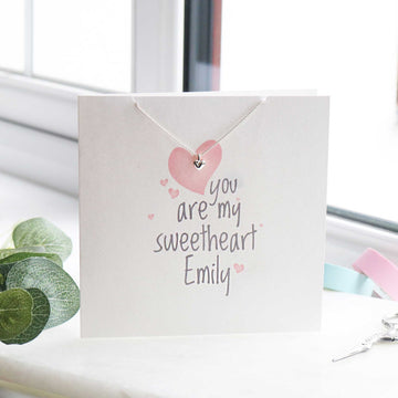personalised card for girlfriend on valentines card with silver heart pendant from Scarlett Jewellery