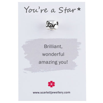 you're a star silver engraved charm bead Scarlett Jewellery