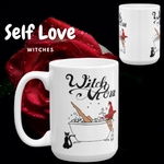 "Original Artwork Graphic Print ""Witch Mom"" Coffee Tea Mug with Black Cat, Tub, Witch Hat Gift 11oz or 15oz!"