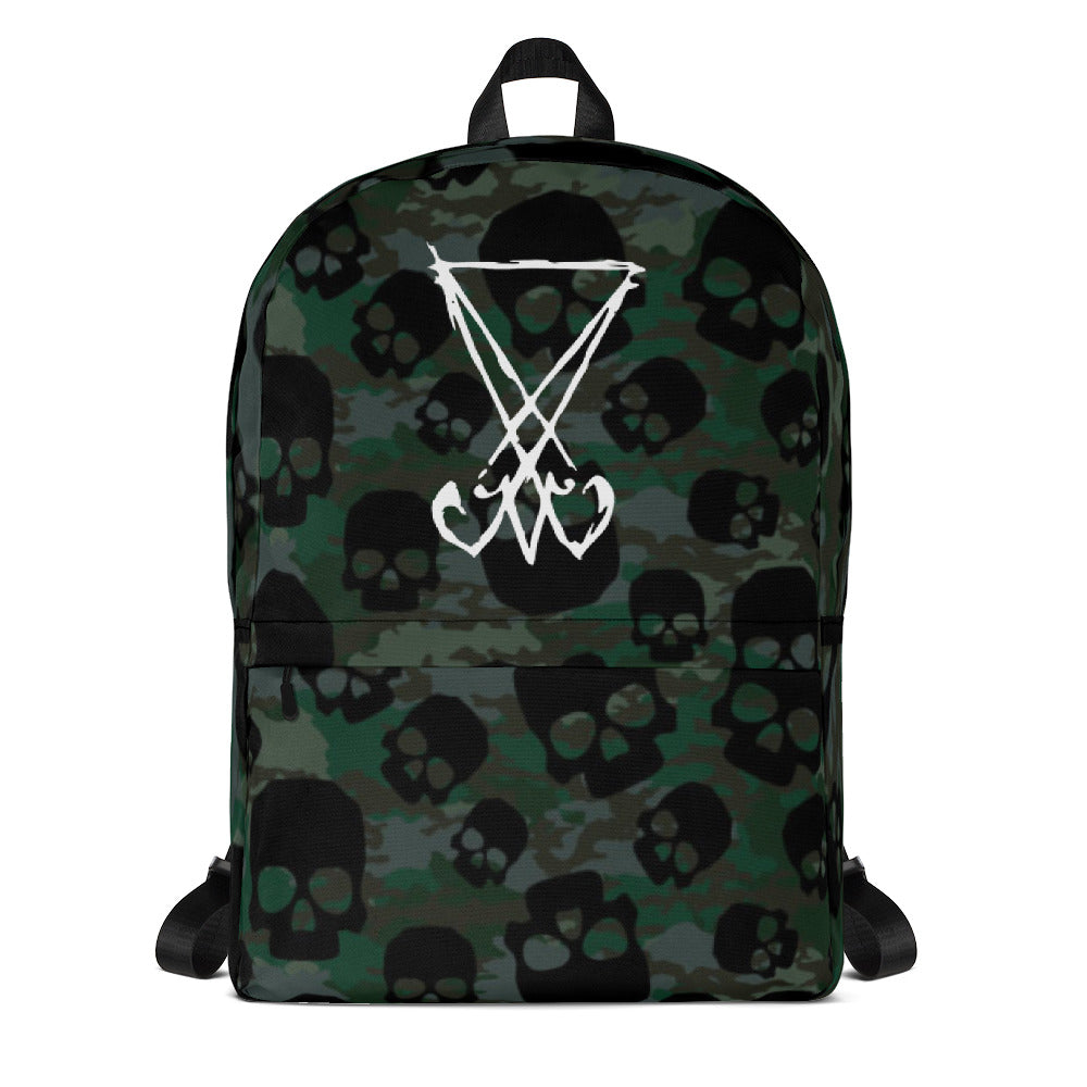 Skull Camo Lucifer Scratched Sigil Luciferian Magick Backpack