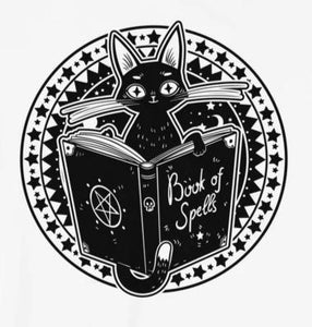Black Cat Magick Spellbook Witch T-Shirt
