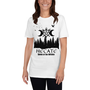 "Short-Sleeve Unisex T-Shirt ""Hecate/Hekate Queen of the Witches"" Graphic Tee - BlackTreeBlueRaven"