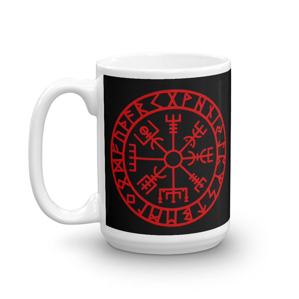 Coffee Tea Viking Mug Runic Vegvisir Viking Compass Sigil For Protection and Guidance - BlackTreeBlueRaven