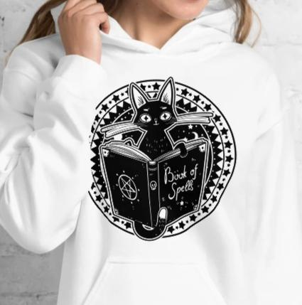 Black Cat Spellbook Witch Hoodie