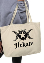 "Large organic tote bag ""Hekate"" Tribal Original Art Sigil Bag! - BlackTreeBlueRaven"