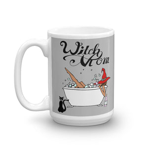 "Original Artwork Graphic Print ""Witch Mom"" Coffee Tea Mug with Black Cat, Tub, Witch Hat Gift 11oz or 15oz! - BlackTreeBlueRaven"
