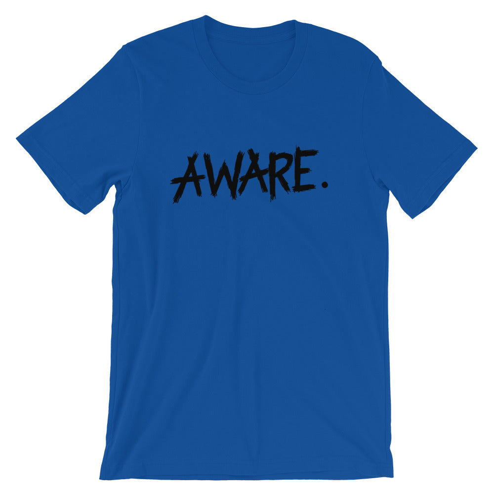 "Short Sleeve T-Shirt (Unisex) Exclusive ""Aware"" Print Magickian Luciferian Satanist Pagan Witch - BlackTreeBlueRaven"