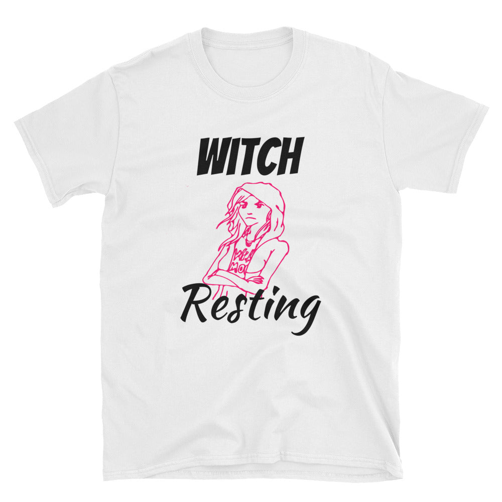Pink Unisex Witch Resting Exclusive Graphic Tee - BlackTreeBlueRaven