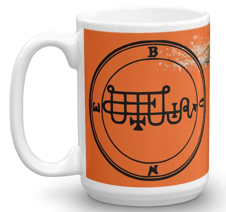 Bune Goetic Chargeable Sigil Orange Leopard Offering Gift Coffee Mug 15oz 11oz