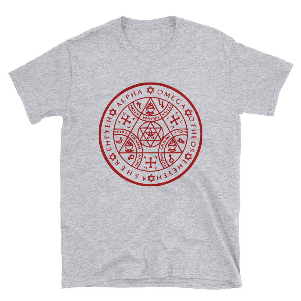 Enochian Protection Symbol Graphic Tee in Red Print!  (Unisex) - BlackTreeBlueRaven