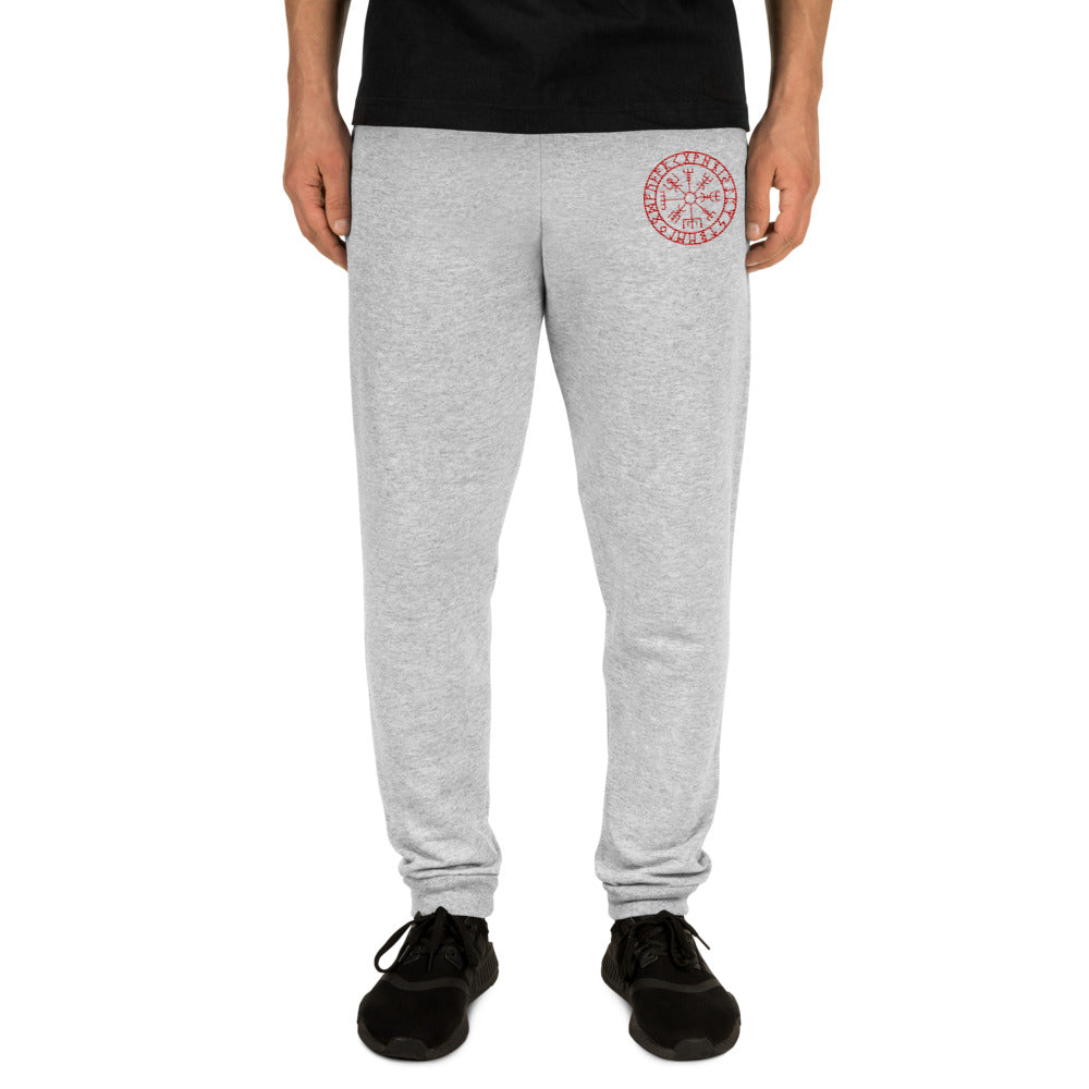 Unisex Joggers With Embroitery of Viking Vegvisir Symbol Of Guidance and Protection - BlackTreeBlueRaven