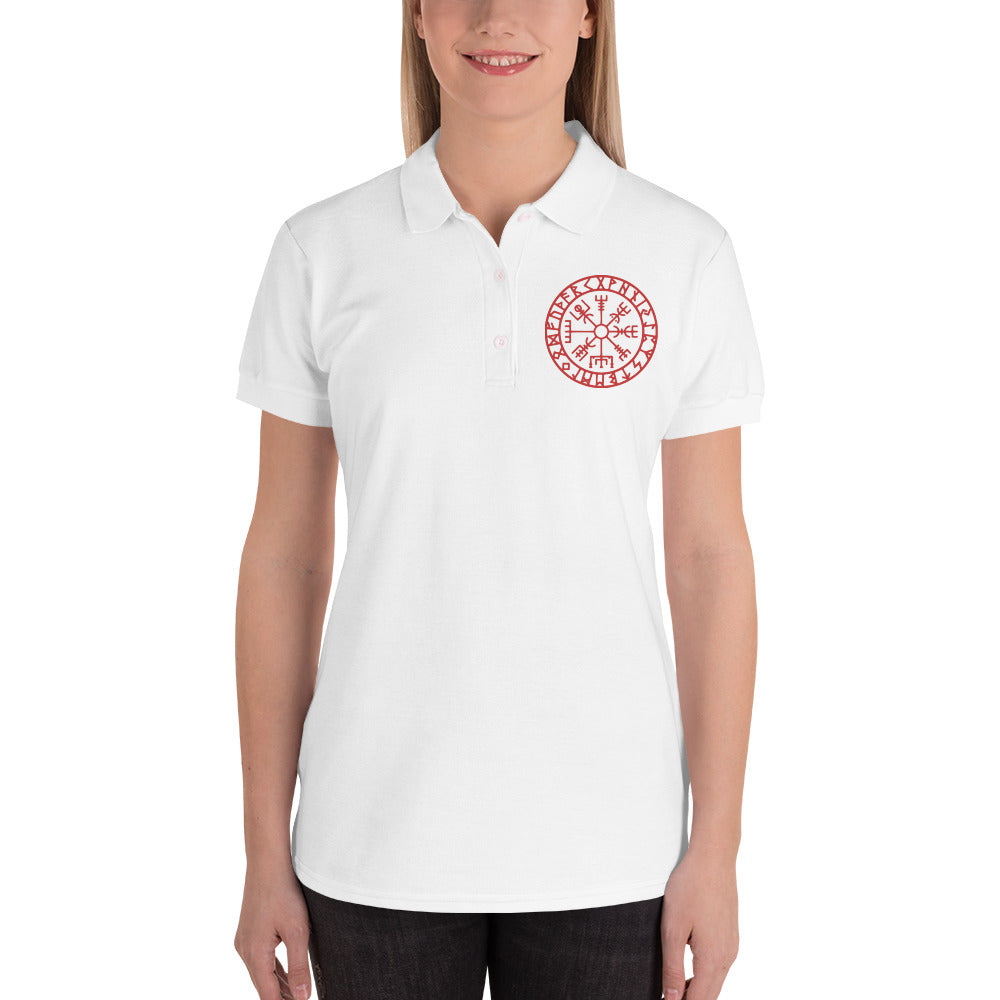 Embroidered Women's Polo Shirt Runic Vegvisir Viking Compass Sigil For Protection and Guidance - BlackTreeBlueRaven