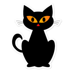 Black Cat Adorable Bubble-free sticker