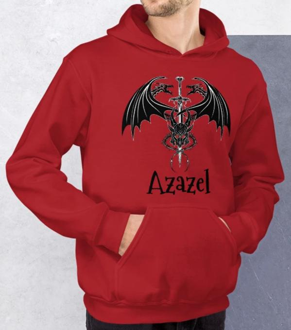 Azazel Demon Dragon Sword Sigil Graphic Hoodie Unisex